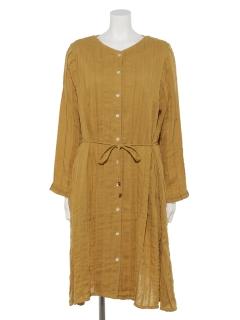 ソリッドダブルガーゼ前開きドレス