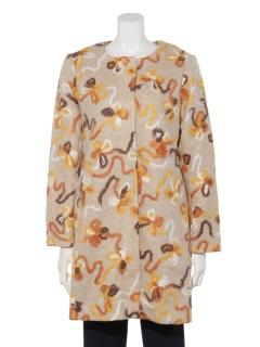 カラフル刺繍生地コート