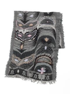 ウール混コットン波柄刺繍ミニショール
