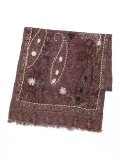 ウール混コットンペイズリー刺繍ショール