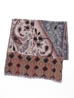 ウール混コットンフラワー刺繍ショール