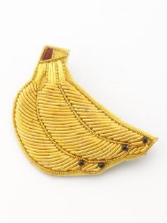 ザリ刺繍ブローチ バナナ