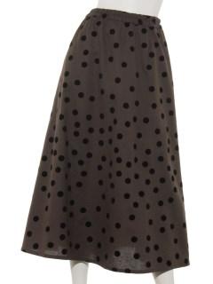フロッキードットプリントスカート