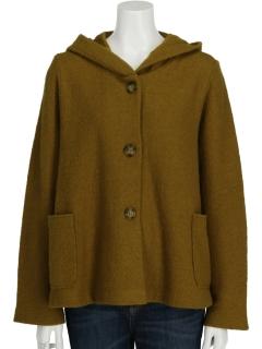 縮絨ウールフード付きハーフコート
