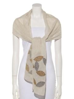 ウールコットンリーフ刺繍ショール