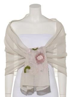 ウールフラワー刺繍ショール