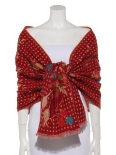 ウールジャガード花柄刺繍ショール