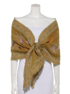 ウールフラワー刺繍バイヤスショール