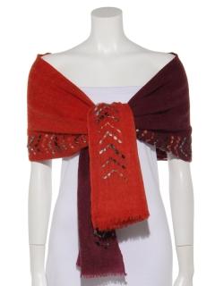 ウール極太刺繍ショール