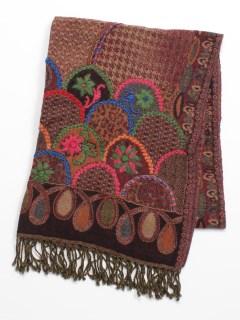 ウール千鳥フラワー刺繍ショール