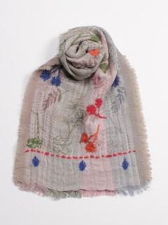 ウールコットンジャガード花刺繍ストール
