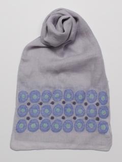 リネンドット柄刺繍ストール