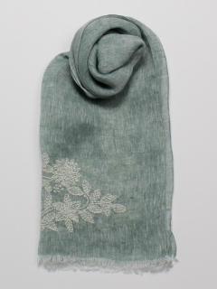 リネン花柄刺繍ストール