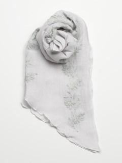 リネンコットンフラワー刺繍ストール