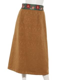ジャガード刺繍リボンスカート