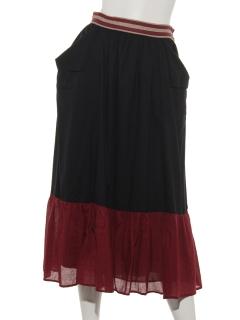 コットンブロッキングカラーパッチスカート