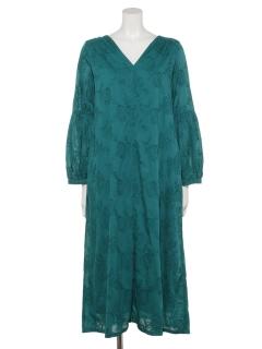 コットンフラワー刺繍ギャザードレス