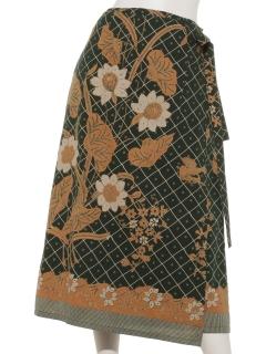 コットンバティックプリント巻きスカート