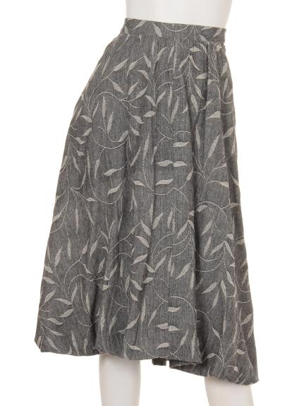 TANABANA (タナバナ) ジャガードリーフバルーンスカート ブラック