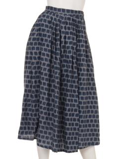 四角ブロックプリントスカート