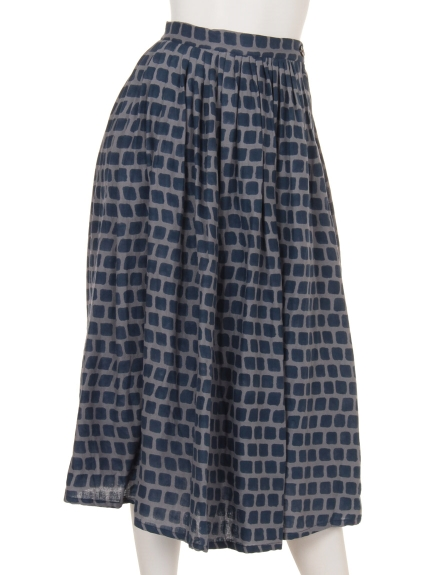 TANABANA (タナバナ) 四角ブロックプリントスカート ネイビー