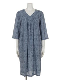 フラワープリントモノトーンドレス