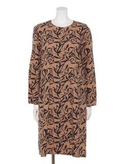 綿リーフ柄プリントコートドレス