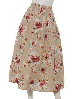 綿麻フラワープリントスカート
