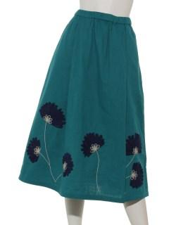 リボン刺繍コットンスカート