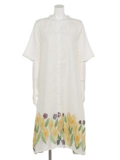 水芭蕉手描きプリントドレス