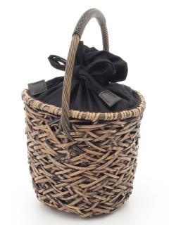 ラタンバケツ型バッグ ブラック
