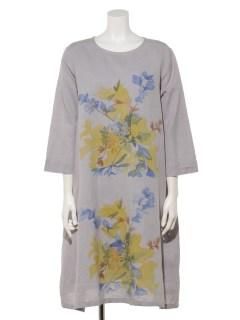 手描きフラワープリントドレス