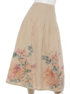 手描きフラワープリントスカート