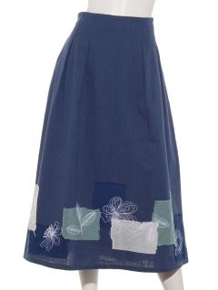 パッチ刺繍コットンスカート