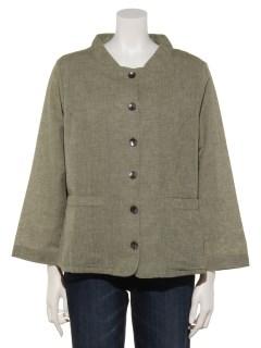 綿麻平織りジャケット