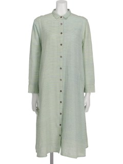 綿麻絣YDシャツドレス