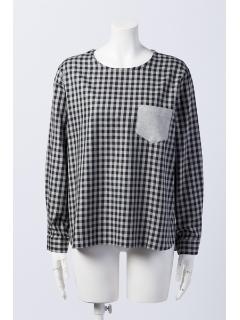 ビエラギンガムチェックノーカラーシャツ