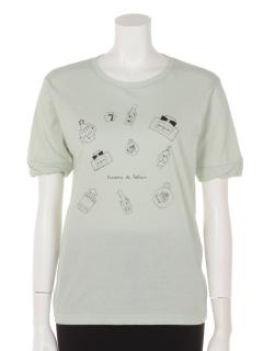 袖口捻じりプリントTシャツ