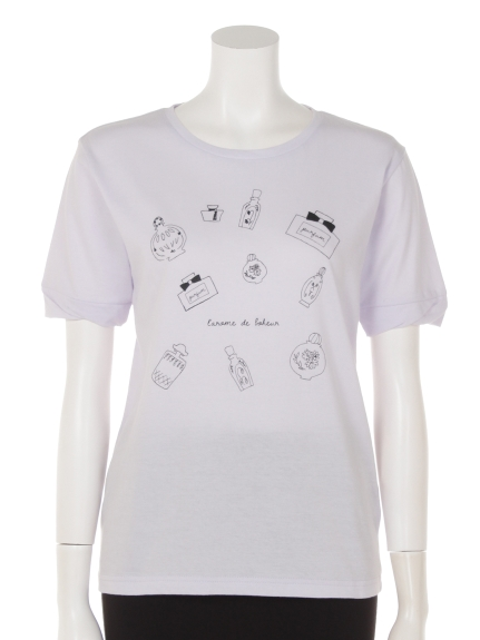Ballerina Pink (バレリーナピンク) 袖口捻じりプリントTシャツ ラベンダー