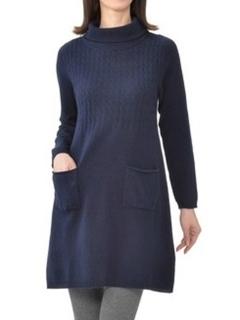 カシミヤ100%ケーブル編みポケット付ニットチュニック