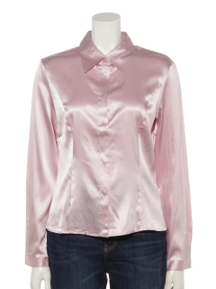 シルクサテン UVカットシャツカラーブラウス