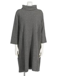 カシミヤ100%タック編み使いオフタートルワイドニットワンピース