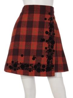 フロッキーチェックラップ風スカート