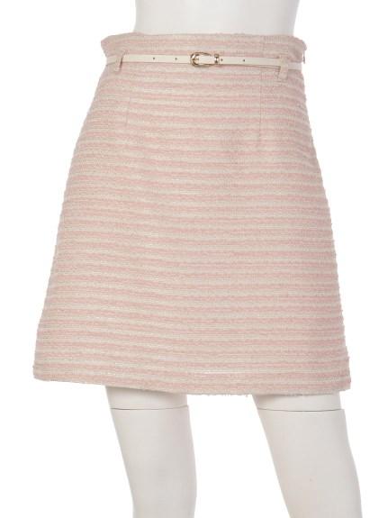 MIIA (ミーア) ツイードトラペラーズスカート ピンク