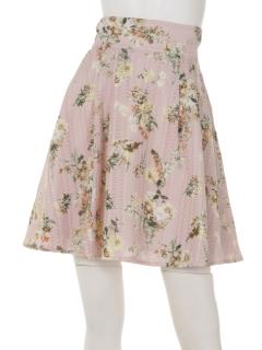 シャーリングフラワーフレアースカート