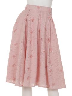 チェリー刺繍タックフレアースカート