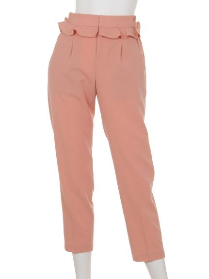 MIIA (ミーア) ウエストフリルテーパードパンツ ピンク
