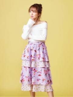 オリジナルMIXフラワーティアードスカート