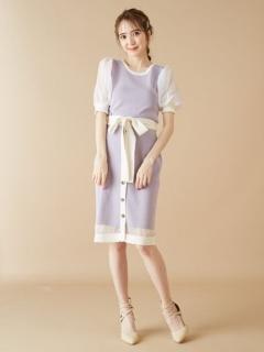 裾スカラップニットタイトスカート