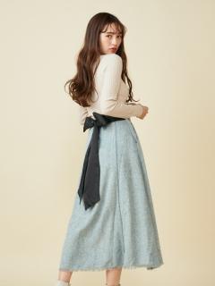 バックリボンツィードスカート